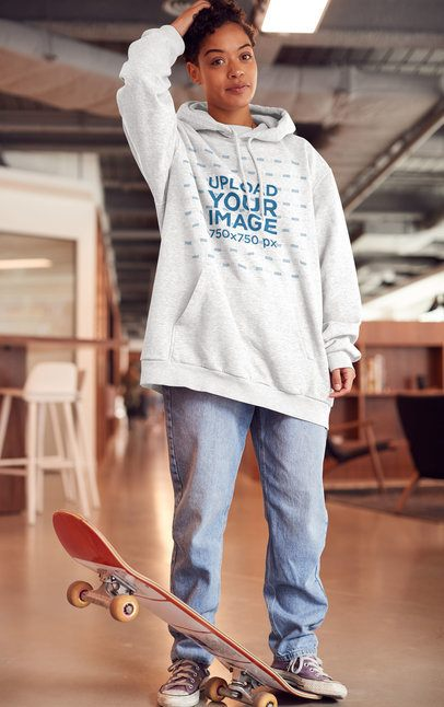 Mockup of a Skater Wearing an Oversize Heathered Hoodie 34555-r-el2