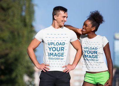 Jersey Mockup Featuring a Couple Smiling on the Street 34398-r-el2
