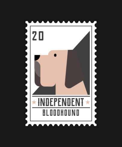T-Shirt Design Template Featuring a Collectible Card with a Bloodhound Graphic 1519b-el1
