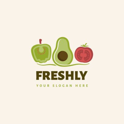 Healthy Food Brand Logo Maker Featuring Fresh Veggies Clipart 1588c-el1