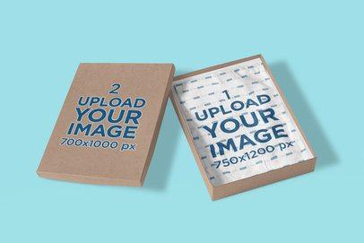 Mockup of a Folded T-Shirt Inside a Cardboard Box 4308-el1