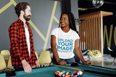 Round Neck Tee Mockup of a Woman and a Friend Playing Billiards 34357-r-el2