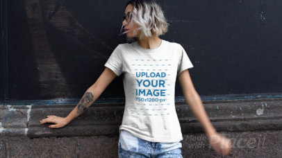 T-Shirt Video of a Tattooed Woman with Bleached Hair 13017