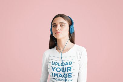 Long Sleeve Tee Mockup of a Young Woman Listening to Music at a Studio 34619-r-el2