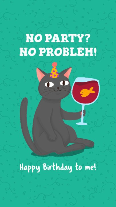 Birthday Instagram Story Maker Featuring a Funny Cat with a Wine Glass 2548d