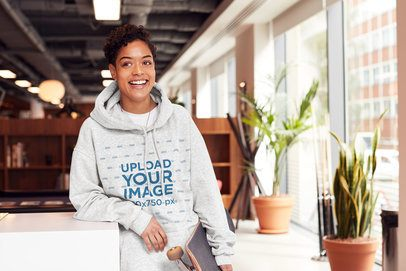 Mockup of a Smiling Woman with Short Hair Wearing a Heather Hoodie 34657-r-el2