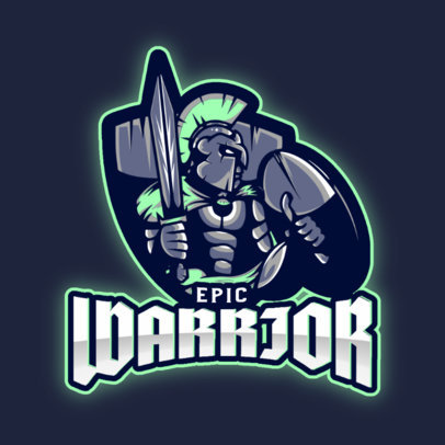 Gaming Logo Template Featuring a Fighting Spartan Warrior 3297f
