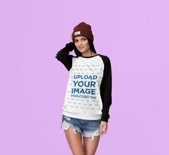 Raglan Crewneck Sweatshirt Mockup of a Woman at a Studio 4372-el1