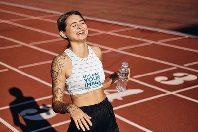 Sports Bra Mockup of a Woman in a Running Track 34728-r-el2