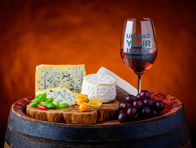 Mockup of a Wine Glass by a Cheeseboard 36598-r-el2