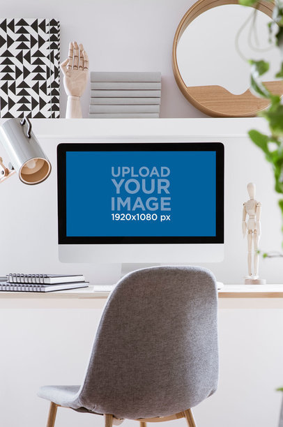 Mockup of an iMac Placed in a Minimalist Workspace 36569-r-el2
