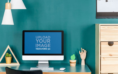 Mockup of an iMac Placed in a Home Setting Under Hanging Lights 36570-r-el2