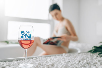 Wine Glass Mockup Featuring a Woman in the Background 36899-r-el2