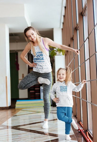 Mockup of a Mom with a Tank Top and a Girl with a Hoodie Practicing Ballet 34313-r-el2
