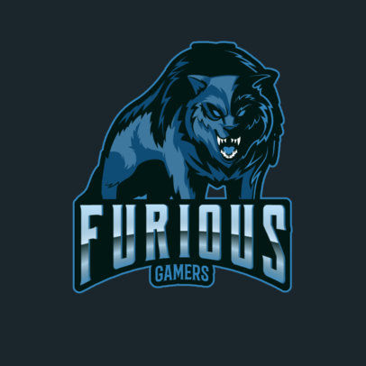 Online Gaming Logo Maker for a Furious Gaming Team with a Wolf Clipart 3291i