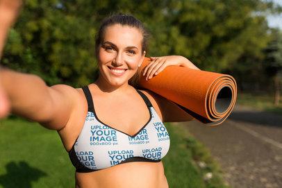 Selfie Mockup of a Woman Wearing a Plus Size Sports Bra 34737-r-el2