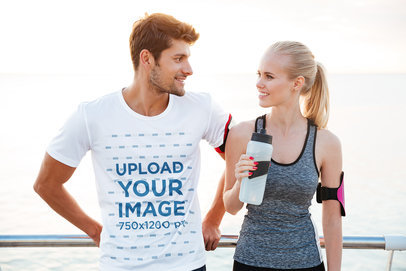 Mockup of a Man with an Activewear Tee Talking to a Woman 34437-r-el2