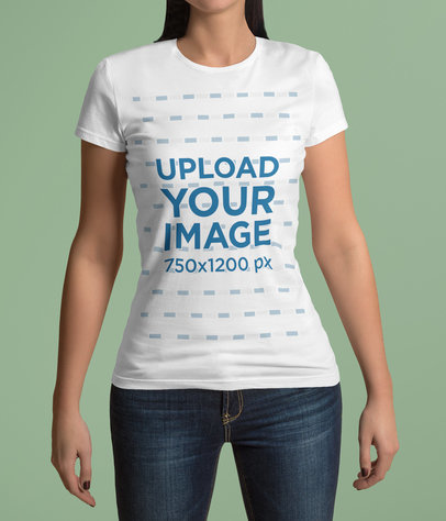 Cropped Face Mockup of a Woman in a Plain Pose Wearing a T-Shirt 4411-el1