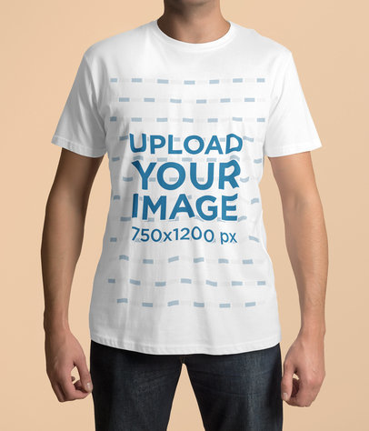 Cropped Face Mockup of a Man Wearing a T-Shirt and Posing Against a Plain Backdrop 4412-el1