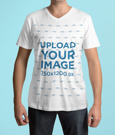 Cropped Face Mockup of a Man Wearing a Customizable V-Neck T-Shirt 4414-el1
