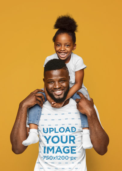 T-Shirt Mockup of a Father Carrying His Daughter on His Shoulders at a Studio 34632-r-el2
