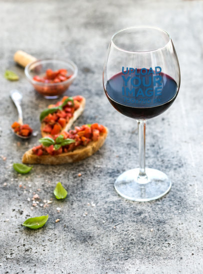 Wine Glass Mockup Featuring Some Gourmet Appetizers 36829-r-el2