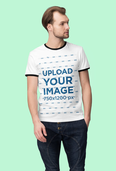 Ringer T-Shirt Mockup of a Serious Man at a Studio 4381-el1
