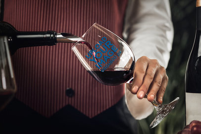 Mockup of a Sommelier Pouring Liquor into a Wine Glass 36812-r-el2