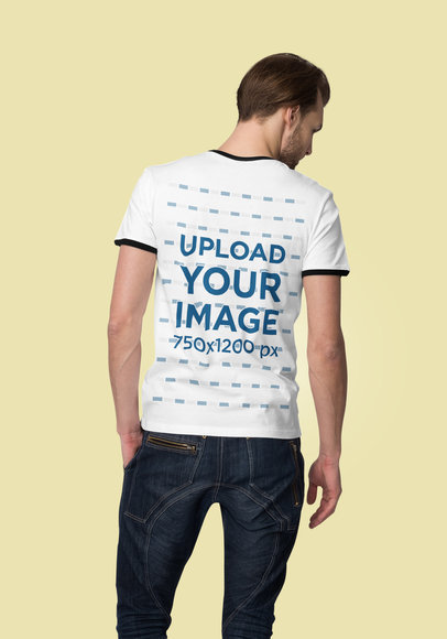 Back View Mockup of a Man Wearing a Ringer T-Shirt Against a Solid Color Backdrop 4383-el1