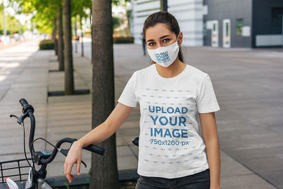 Mockup of a Woman Wearing a T-Shirt and a Face Mask 4555-el1