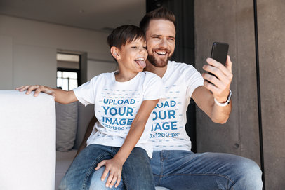 T-Shirt Mockup Featuring a Dad and Son Taking a Selfie 34332-r-el2