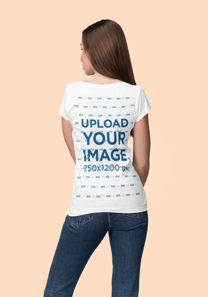 Back View Mockup of a Young Serious Woman Wearing a T-Shirt 4385-el1