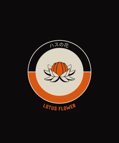 T-Shirt Design Template with a Lotus Flower Icon 1701a-el1
