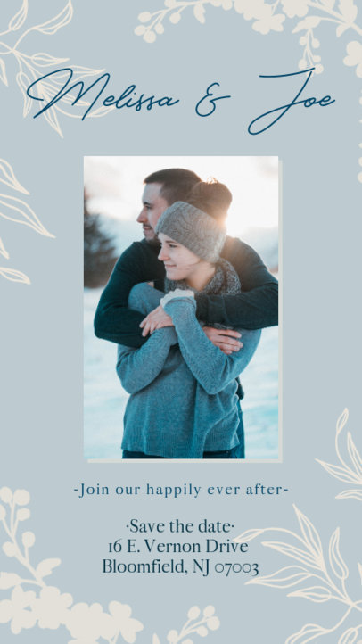 Instagram Story Template for a Wedding Invitation Featuring Botanical Graphics 2582h