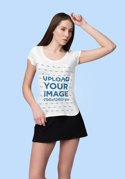 Tee Mockup of a Woman with a Hand on Her Head 4386-el1