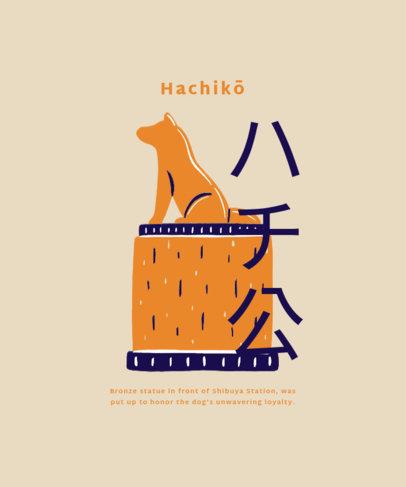 T-Shirt Design Maker Featuring a Hachiko Statue Illustration 1685c-el1