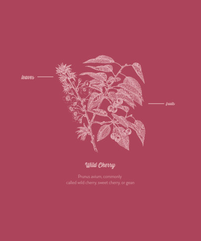 T-Shirt Design Generator With a Wild Cherry Plant Engraved Illustration 1661d-el1