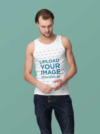 Mockup of a Serious Man Wearing a Customizable Tank Top Against a Plain Background 4393-el1