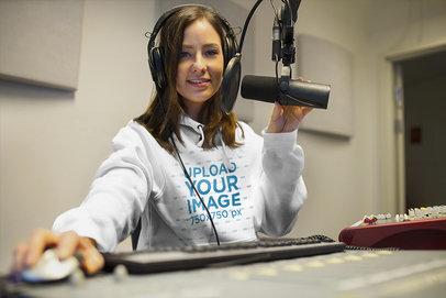 Hoodie Mockup Featuring a DJ at a Recording Studio 37141-r-el2