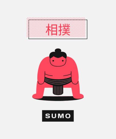 T-Shirt Design Template Featuring a Sumo Wrestler 1683a-el1