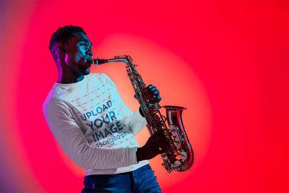 Long-Sleeve Tee Mockup of a Man Playing the Saxophone 37030-r-el2