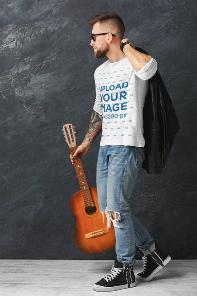 Long-Sleeve Tee Mockup of an Artist Holding a Guitar 36974-r-el2