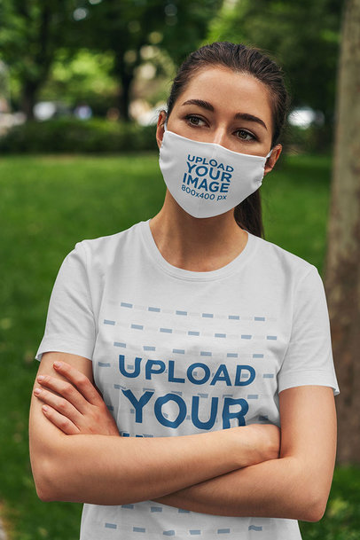 Face Mask Mockup of a Woman Wearing a Customizable T-Shirt 4559-el1