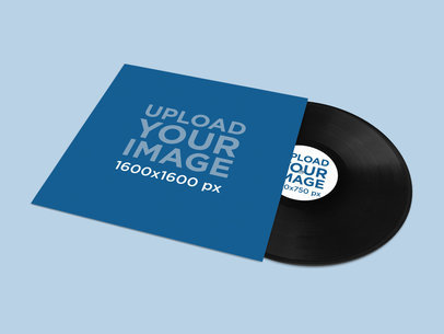 Vinyl Mockup Featuring a Colored Background 4537-el1