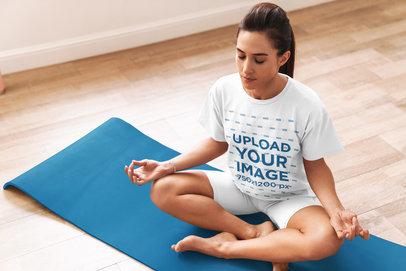 T-Shirt Mockup of a Focused Woman Meditating 34433-r-el2