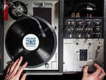 Mockup of a Vinyl Record on a DJ's Turntable 4527-el1