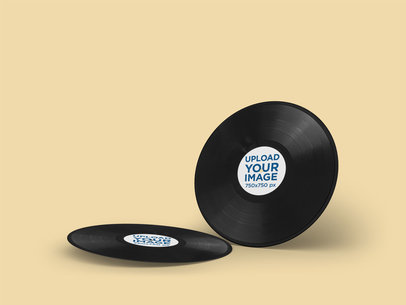 Mockup of Two Vinyl Records Against a Customizable Background 4539-el1