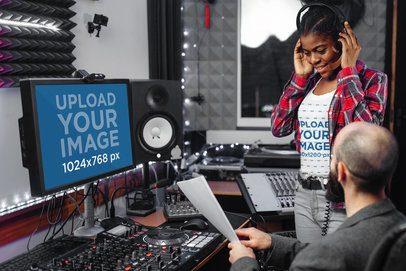 T-Shirt Mockup Featuring a Computer in a Recording Studio 37153-r-el2