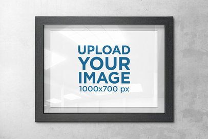 Mockup Featuring an Art Print With a Dark Wooden Frame 4481-el1