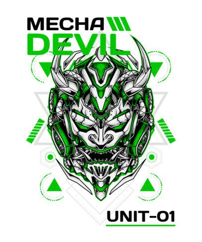 T-Shirt Design Template with Evil Mecha Characters 1809-el1